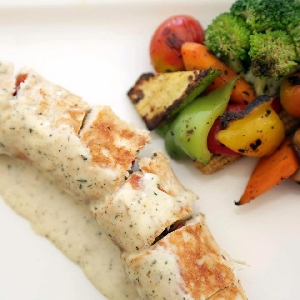 Healthy dish Chicken Rolls with grilled…
