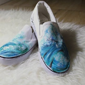 For sale Custom Hand Painted Shoes - Waves